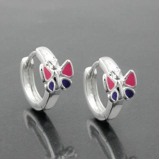 1 Paar Mädchen Klapp- Creolen Ohrringe mit Schmetterling lila rosa SILBER 925 - Vorschau 2