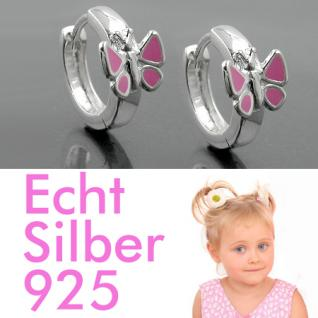 1 Paar Mädchen Klapp- Creolen Ohrringe mit rosa Schmetterling ECHT SILBER 925 - Vorschau 1