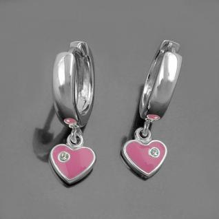1 Paar Mädchen Creolen Ohrringe rosa Herz Zirkonia Hänger Echt Silber 925 Neu - Vorschau 2