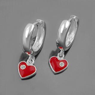 1 Paar Mädchen Creolen Ohrringe rotes Herz Zirkonia Hänger Echt Silber 925 Neu - Vorschau 2