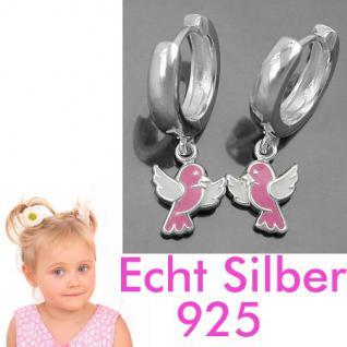 1 Paar Mädchen Creolen Ohrringe mit süßen rosa Vögel Hänger Echt Silber 925 Neu - Vorschau