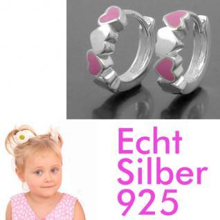 Mädchen Klapp- Creolen Herzen rosa Kinder Herz Ohrringe Paar Echt Silber 925 Neu