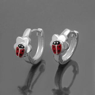 1 Paar Mädchen Scharnier- Creolen Marienkäfer Ohrringe mit Blume Echt Silber 925 - Vorschau 2