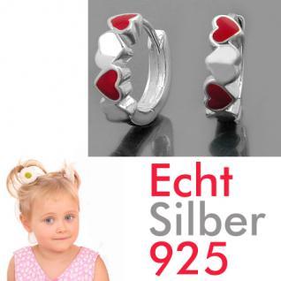 Mädchen Klapp- Creolen Herzen rot Kinder Herz Ohrringe Paar Echt Silber 925 Neu