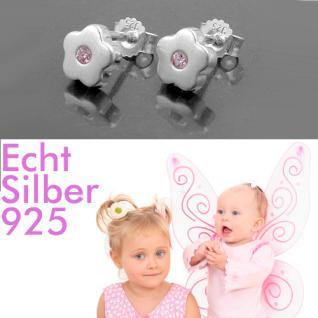 Mädchen Blumen Ohrstecker rosa Zirkonia Blümchen Ohrringe aus Echt Silber 925