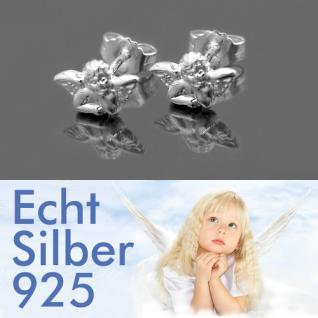 Mädchen - Damen Schutzengel Kommunion Ohrstecker Engel Ohrringe Echt Silber 925