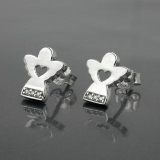 1 Paar Mädchen Ohrstecker Engel mit Herz Kinder Echt Silber 925 Ohrringe Neu - Vorschau 2