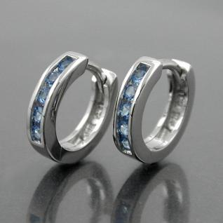 1 Paar Mädchen Scharnier- Creolen Ohrringe mit Zirkonia Steinen blau Silber 925