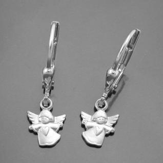 Mädchen Schutz Engel Herz Ohrringe Kinder Engel Ohrhänger Hänger Echt Silber 925
