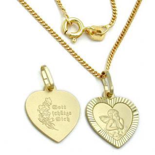 Schutzengel Herz Anhänger Gold 333 - Vorschau 2