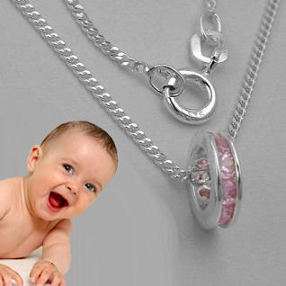 Mädchen Taufring rosa Silber - Vorschau 1