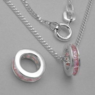 Mädchen Taufring rosa Silber - Vorschau 2