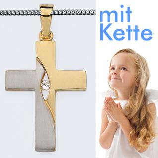 Kinder bicolor Kommunion Kreuz Kette - Vorschau 1