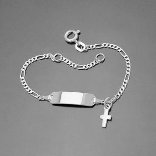 Baby Taufe Armband mit Kreuz Anhänger Silber 925 mit Gravur von Name und Datum - Vorschau 1