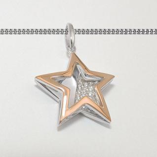 Design Frauen Spiegel Stern Anhänger mit Zirkonia Rosè Gold mit Kette Silber 925 - Vorschau 2