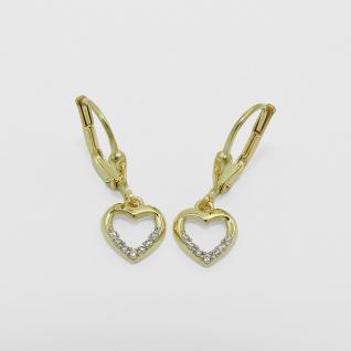 Mädchen Gold 333 Herz Ohrringe Kinder süße Herzchen Ohrhänger Zirkonia Hänger - Vorschau