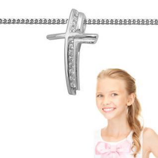 Baby Taufe Kinder Kommunion Premium Zirkonia Kreuz Anhänger mit Kette Silber 925