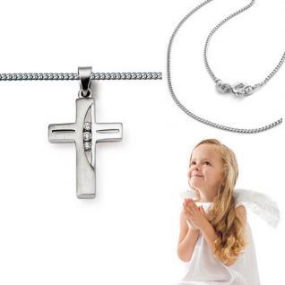 Baby Taufe Kinder Kommunion Firmung Kreuz Anhänger Kette mit Steine Silber 925