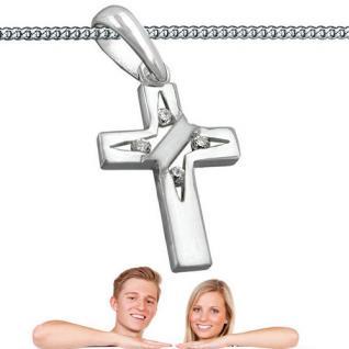 Zirkonia Kreuz Anhänger für Baby Kinder und Erwachsene mit Kette Echt Silber 925