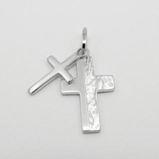 Kreuz auf Kreuz Doppel- Anhänger Echt Silber 925 mit Hals- Kette Länge wählbar