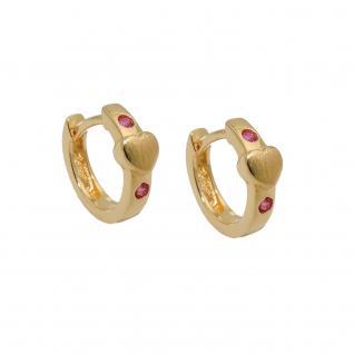 Mädchen Kinder Scharnier- Creolen Herz rote Rubin Steine Ohrringe Echt Gold 333