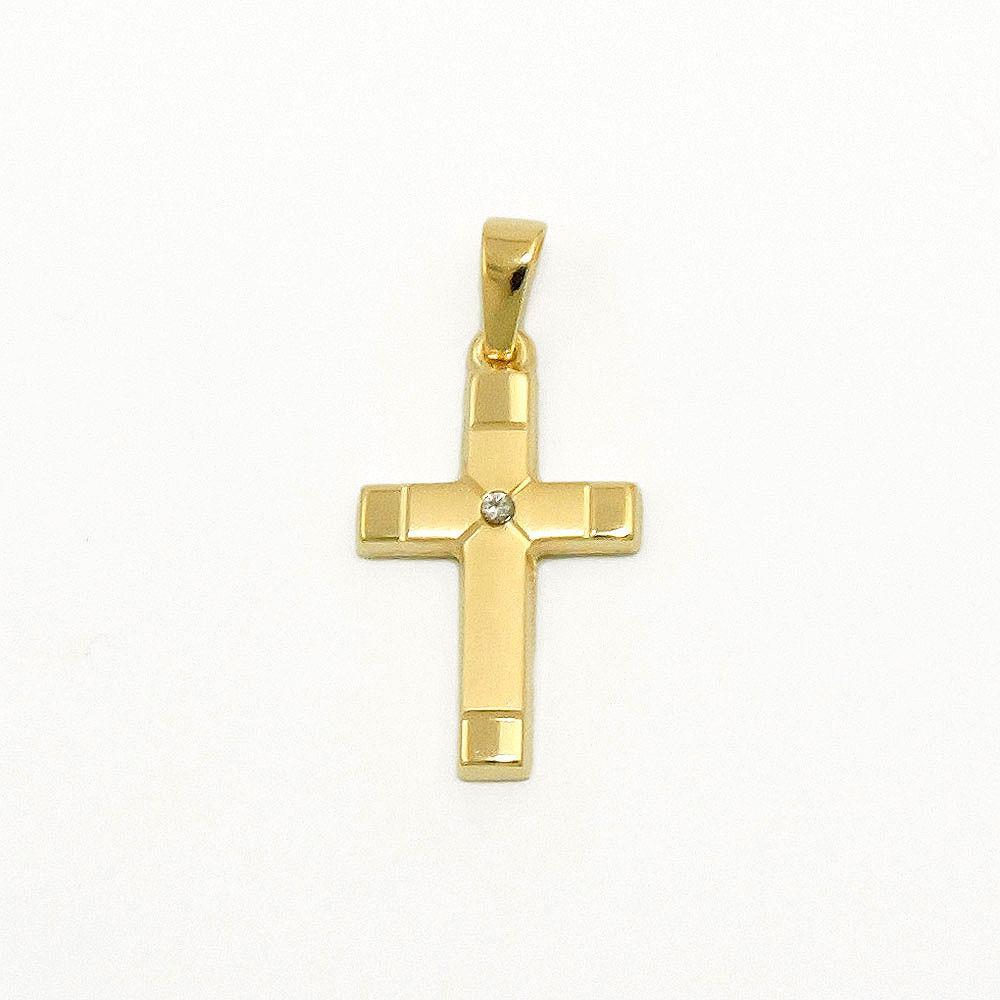 gold 585 diamant 0 01 brillant kreuz anh nger taufe. Black Bedroom Furniture Sets. Home Design Ideas