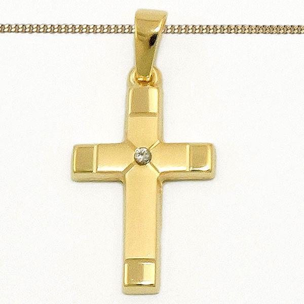 Gold 585 Diamant 0 01 Brillant Kreuz Anhänger Taufe Kommunion Mit Silber Kette