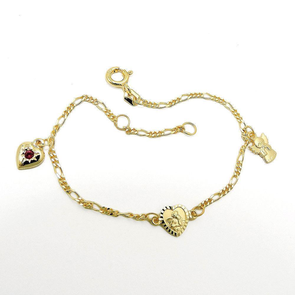 14 KT Baby Kinder Taufe Ident Herz Armband mit Name Datum Gravur Echt Gold 585