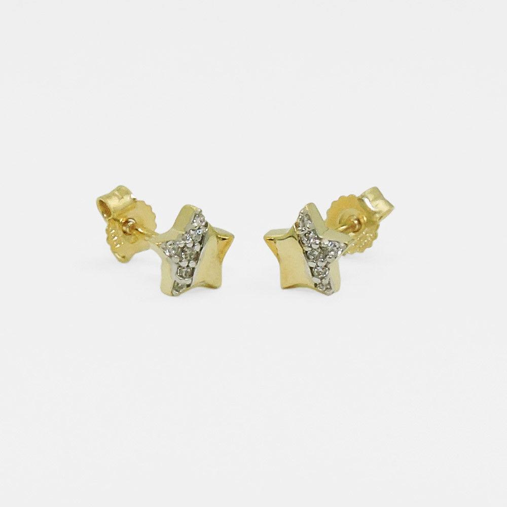 Veröffentlichungsdatum Original- Heiß-Verkauf am neuesten Mädchen Frauen Stern Zirkonia Ohrstecker Kinder Sternchen Ohrringe Echt  Gold 333