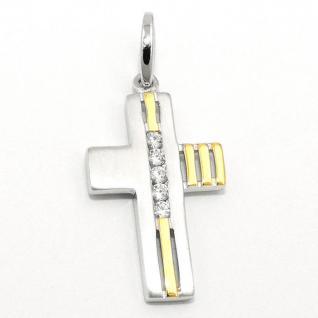 Kinder Taufe Kommunion Kreuz Anhänger vergoldet bicolor Silber 925 mit Kette