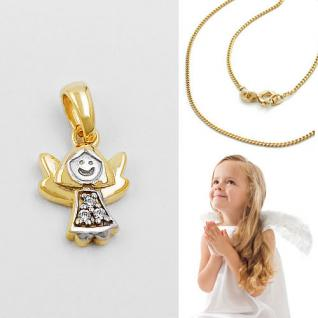 Baby Kinder moderner Schutz Engel ECHT GOLD 333 bicolor mit Kette Silber 925 VG