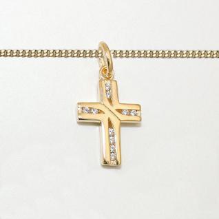 Kinder Kreuz Anhänger Zirkonia Taufe - Kommunion Silber 925 vergoldet mit Kette - Vorschau 2