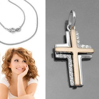 Design Zirkonia Kreuz Anhänger zur Taufe Kommunion Rosè Gold + Kette Silber 925