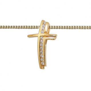 Taufe Kommunion Premium Zirkonia Kreuz Anhänger mit Kette Silber 925 vergoldet - Vorschau 2