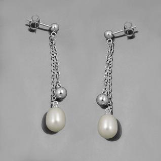 1 Paar Damen Ohrpendel Süßwasser Zucht- Perlen Ohrringe Stecker Echt Silber 925