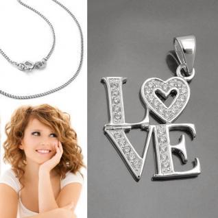 LOVE (Liebe) Frauen Anhänger mit Zirkonia Herz und Kette Echt Silber 925 Neu