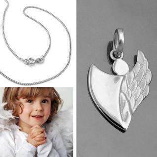 moderner Kinder Schutz Engel Anhänger in Herz Form mit Kette Echt Silber 925 Neu - Vorschau 5