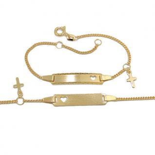 Baby Taufe Echt Gold 333 Herz Ident Armband mit Kreuz und Gravur von Name Datum - Vorschau 2