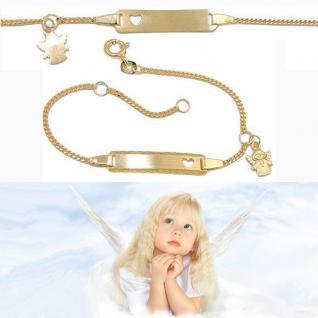 Baby Taufe Schutz Engel Kreuz Ident Armband mit Gravur Name Datum Echt Gold 333