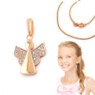 moderner Echt Silber 925 Rosè Gold Schutz Engel Anhänger Zirkonia mit Kette Wahl