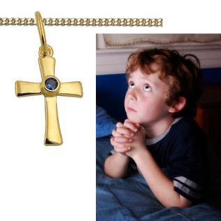 Jungen Kette Taufe Kommunion Zirkonia blau Kreuz Anhänger Silber 925 vergoldet