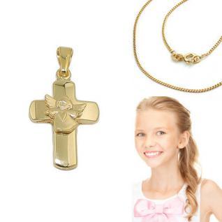 Echt Gold 333 Kinder Taufe Kommunion Kreuz Anhänger Herz Engel mit Silber Kette