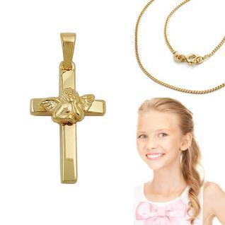 Engel Kreuz Anhänger Silber 925 vergoldet mit Kette zur Kinder Taufe Kommunion