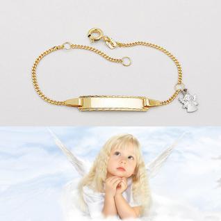 Baby Taufe Gravur Armband Name Datum Gelb Gold 333 bicolor mit Weißgold Engel