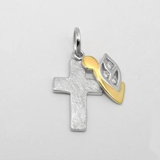 Schutz Engel mit Kreuz Doppel- Anhänger Echt Silber 925 bicolor + Kette wählbar