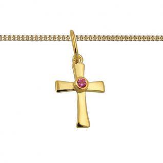 Mädchen Kette zur Taufe Kommunion Zirkonia rot Kreuz Anhänger Silber 925 vergold - Vorschau 2