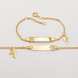 Baby Taufe Stern Ident Armband mit Delfin Anhänger + Gravur Name Datum Gold 333 - Vorschau 2