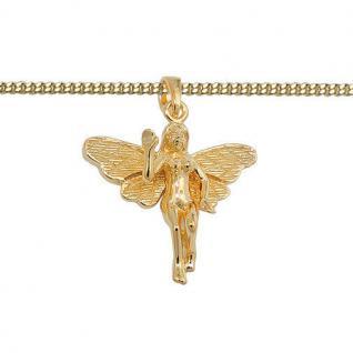 Frauen Elfe Fee mit offenen Flügel Anhänger mit Kette Echt Silber 925 vergoldet