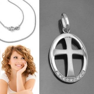 Design Kreuz Anhänger im Rahmen zur Taufe Kommunion Firmung mit Kette Silber 925