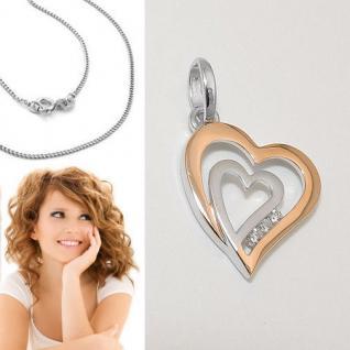 Frauen 2 Herzen Anhänger Herz in Herz Zirkonia Rosè Gold mit Kette Silber 925